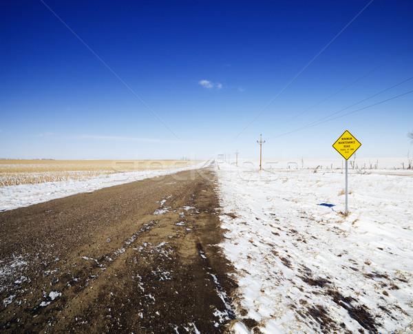 Vuil winter weg onverharde weg sneeuw Stockfoto © iofoto