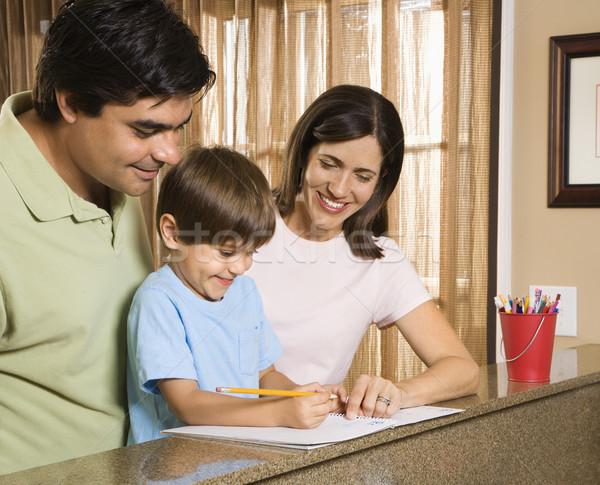 Foto stock: Família · lição · de · casa · hispânico · pais · ajuda · filho