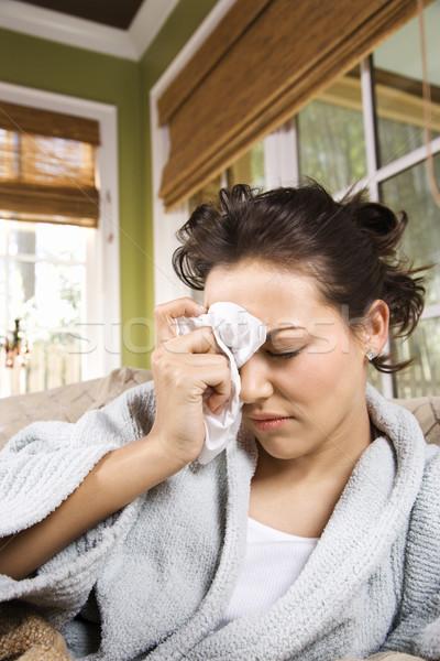 Sick Woman in Bathrobe Stock photo © iofoto