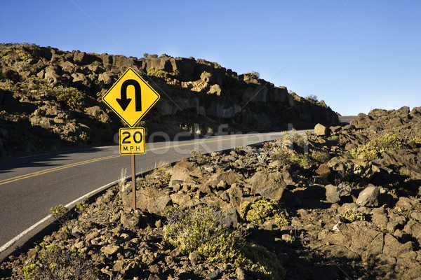 Curvy road and sign. Stock photo © iofoto