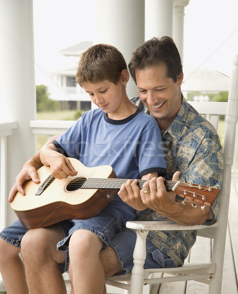 Father and Son Playing Guitar Stock photo © iofoto