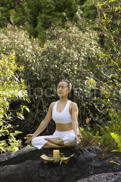 Asian donna americano seduta foresta Foto d'archivio © iofoto