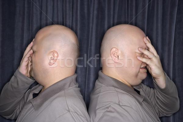 Azonos iker férfiak profil kaukázusi kopasz Stock fotó © iofoto
