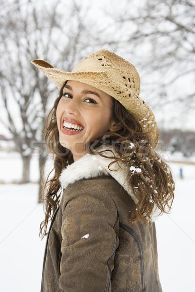 женщину ковбойской шляпе кавказский женщины улице Сток-фото © iofoto