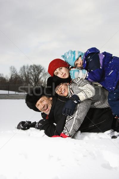 Familia nieve retrato feliz caucásico Foto stock © iofoto