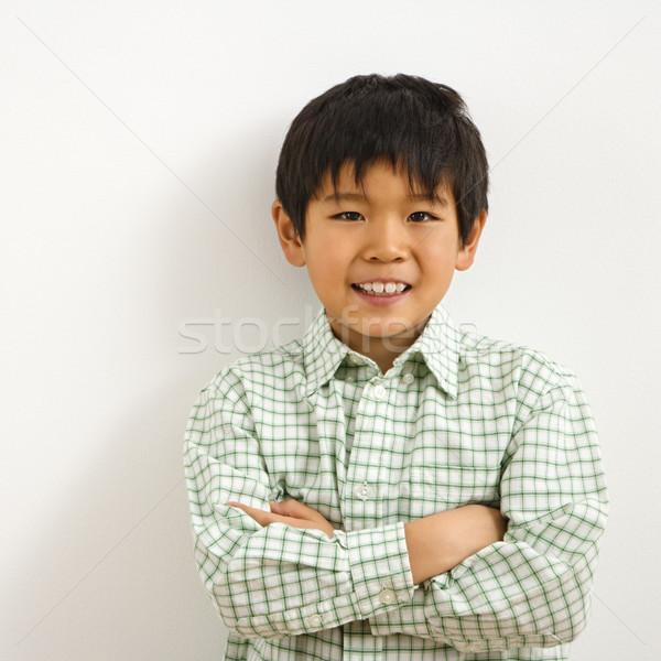 アジア 少年 肖像 小さな 笑みを浮かべて 笑顔 ストックフォト © iofoto
