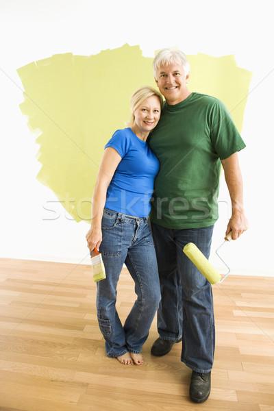 Foto stock: Homem · mulher · parede · casal · pintura