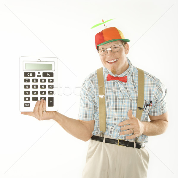 Man calculator kaukasisch jonge man zoals Stockfoto © iofoto