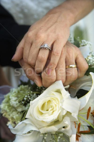 Menyasszony vőlegény közelkép kép kezek esküvő Stock fotó © iofoto