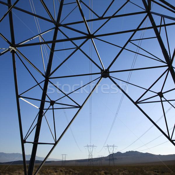 Elektomos távvezeték terméketlen sivatag tájkép ipar Stock fotó © iofoto