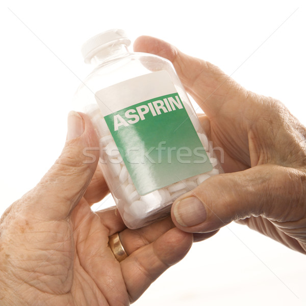 Hands holding aspirin bottle. Stock photo © iofoto