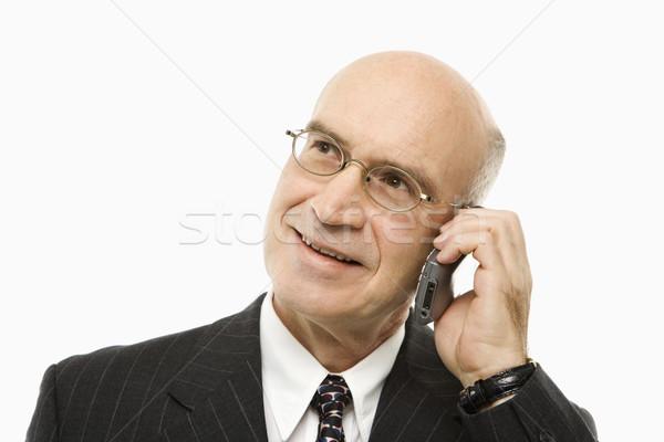 Biznesmen mówić uśmiechnięty Zdjęcia stock © iofoto