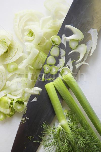 Nóż koper posiekane kuchnia Zdjęcia stock © iofoto
