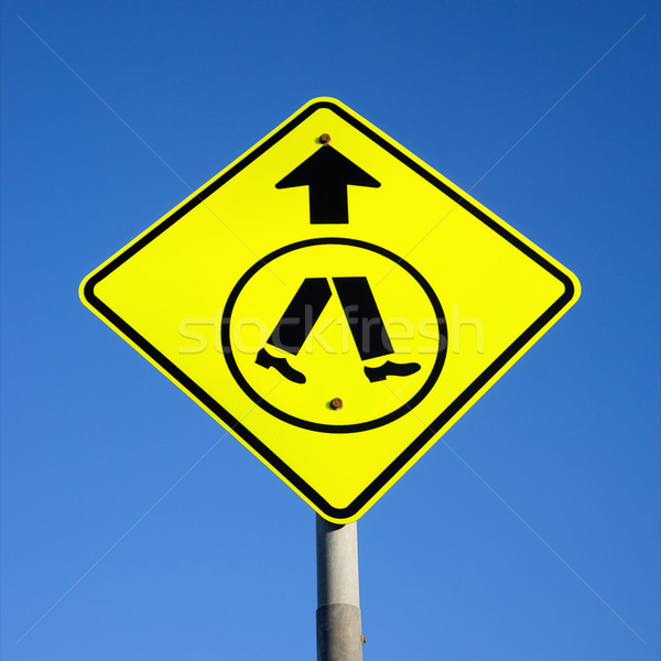Voetganger teken blauwe hemel Australië voeten Stockfoto © iofoto