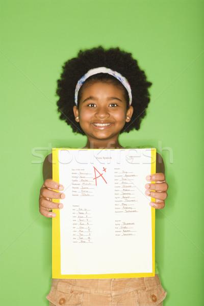 Lány jó afroamerikai tart ki iskola Stock fotó © iofoto