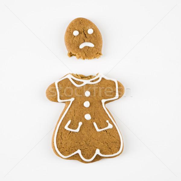 Foto d'archivio: Rotto · pan · di · zenzero · cookie · femminile · metà · triste