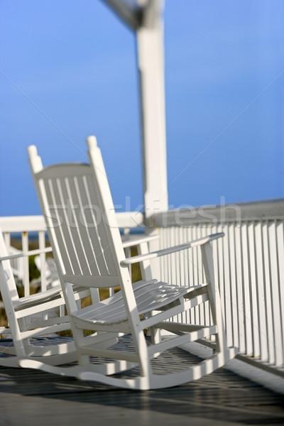 стульев крыльцо лысые голову острове Северная Каролина Сток-фото © iofoto