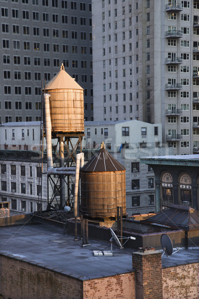 Rooftop Water Towers on NYC Buildings Stock photo © iofoto