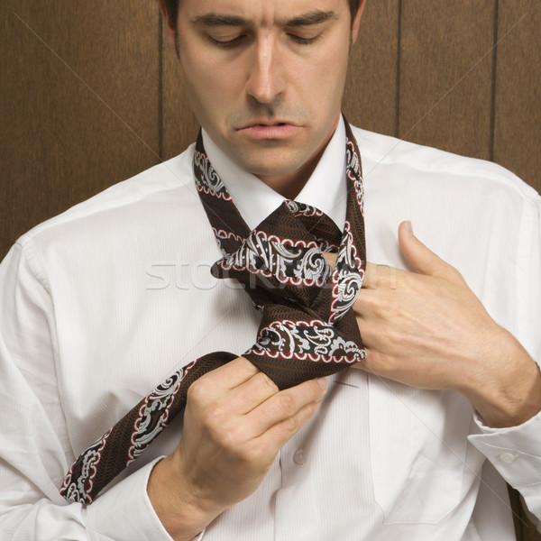 Man stropdas kaukasisch mannelijke retro kleur Stockfoto © iofoto