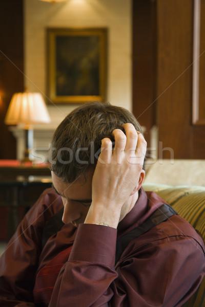 Deprimido empresario caucásico adulto mano cabeza Foto stock © iofoto