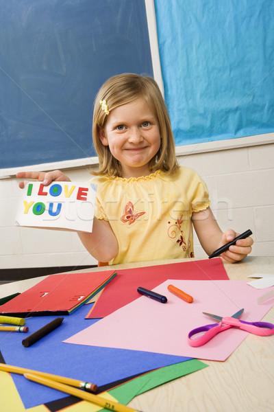Young Girl in Art Class Stock photo © iofoto