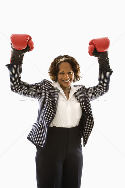 Victorious businesswoman. Stock photo © iofoto