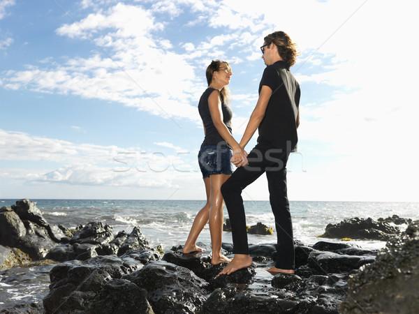 çekici kayalar eller Stok fotoğraf © iofoto