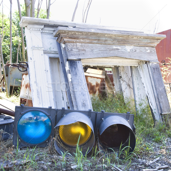 Stoplight with other junk in junkyard. Stock photo © iofoto