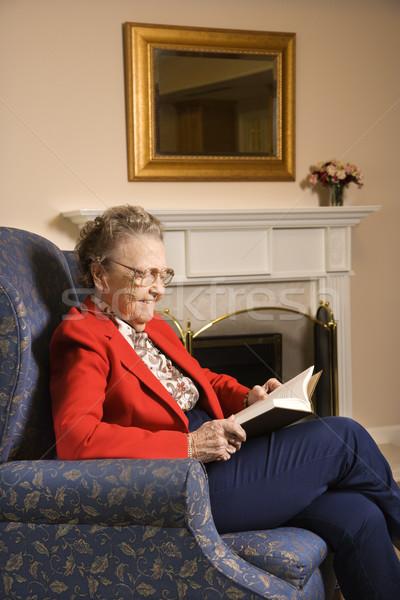 Photo stock: Lecture · livre · âgées · femme