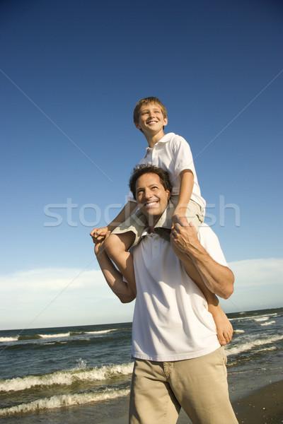 Foto d'archivio: Papà · figlio · spalle · padre