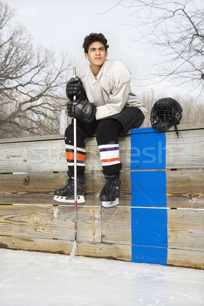 Hockey player boy. Stock photo © iofoto