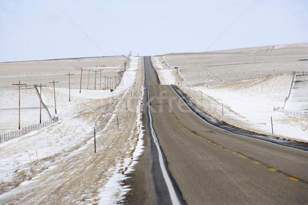Vidéki út hó domb tájkép távvezeték Stock fotó © iofoto
