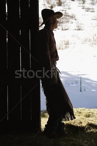 Cowboy deuropening schuur silhouet naar Stockfoto © iofoto