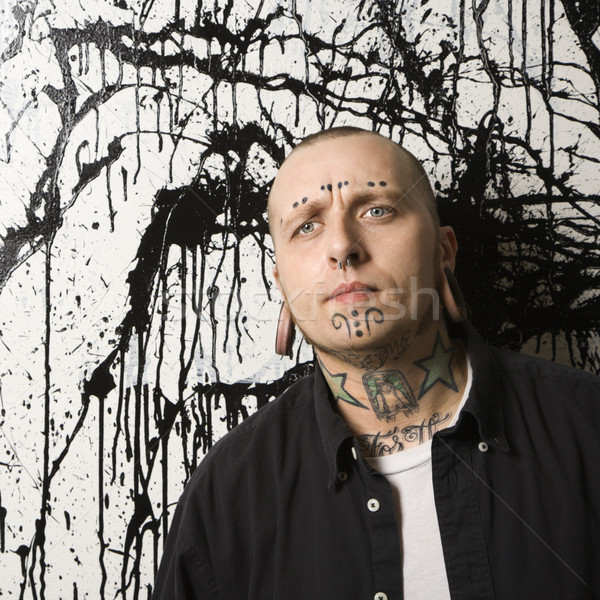 Getatoeëerd man permanente verf mannen tattoo Stockfoto © iofoto
