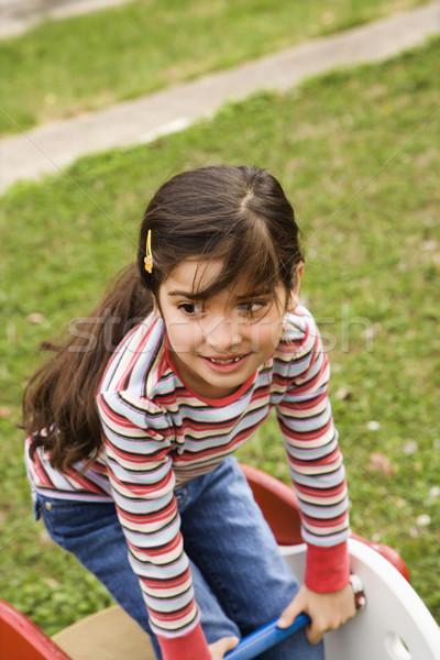 Genç kız oynama oyun alanı dışında kız Stok fotoğraf © iofoto