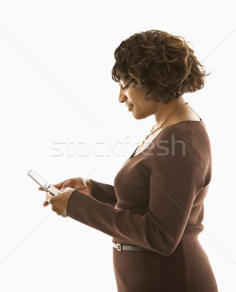 Сток-фото: женщину · Кнопки · Постоянный