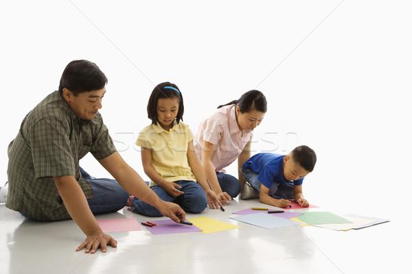 семьи азиатских родителей сидят полу детей Сток-фото © iofoto