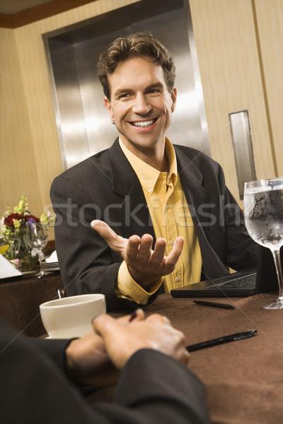 Işadamı konuşma kafkas iş bilgisayar Stok fotoğraf © iofoto
