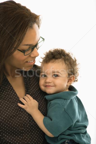 Stock fotó: Anya · kisgyerek · afroamerikai · felnőtt · anya · tart