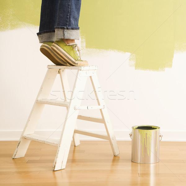 Kadın merdiven boyama bacaklar ayakta heyecanla Stok fotoğraf © iofoto