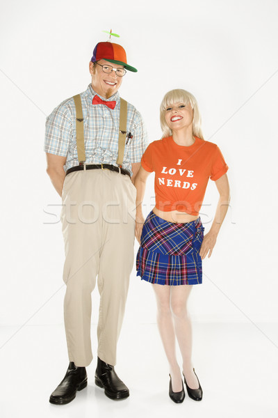 Nerd and sexy woman. Stock photo © iofoto