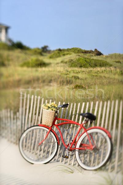 Foto stock: Moto · playa · rojo · vintage · bicicleta · cesta