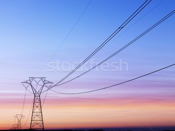 Távvezeték naplemente vonal elektomos tornyok vízszintes Stock fotó © iofoto