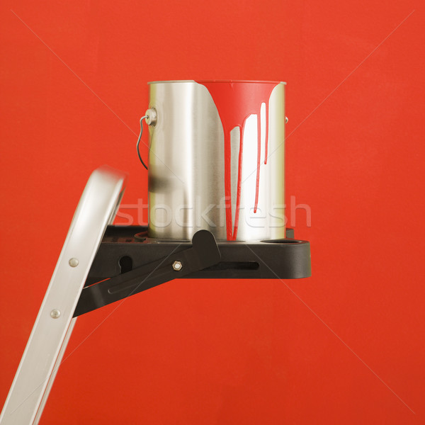 Festékes flakon létra csendélet lépés piros fal Stock fotó © iofoto