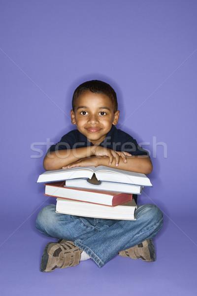 Fiú ül könyvek afroamerikai férfi gyermek Stock fotó © iofoto