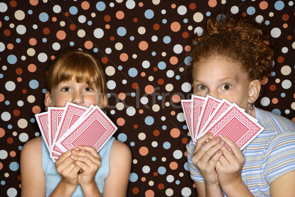 Ragazze carte da gioco femminile bambini Foto d'archivio © iofoto