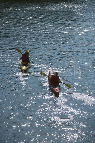 Due ragazzi kayak ragazzi adolescenti calvo Foto d'archivio © iofoto