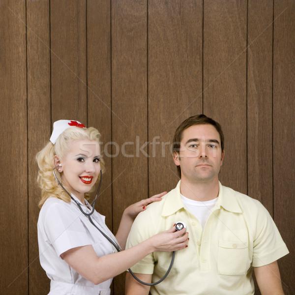 Infermiera paziente femminile battito del cuore Foto d'archivio © iofoto