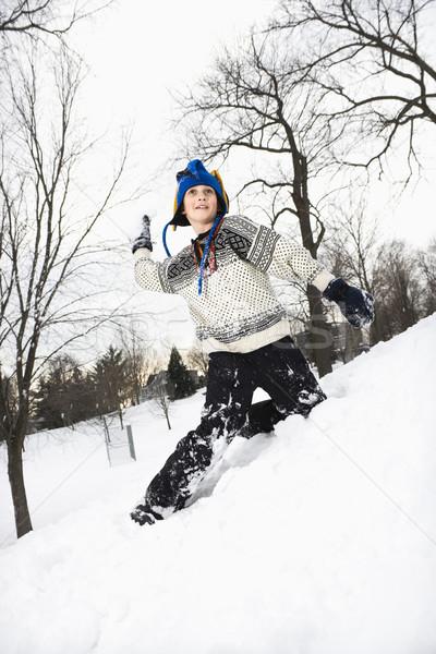 Nino nieve caucásico suéter Foto stock © iofoto
