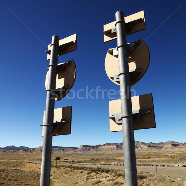 Сток-фото: два · дорожных · знаков · синий · гор · направлении · квадратный